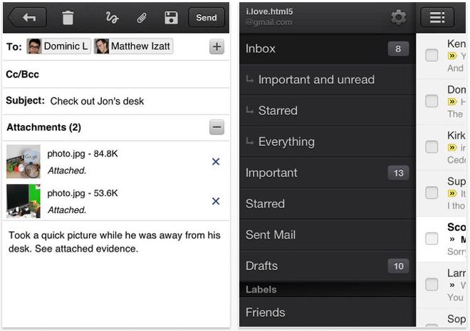 Google Mail in Version 1.2.7 unterstützt Notification Center