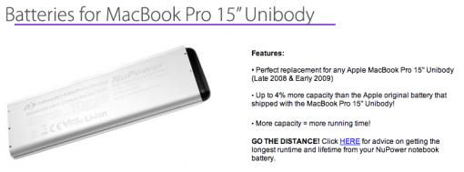 NewerTechnology Akku 15 MacBook Pro 510x189