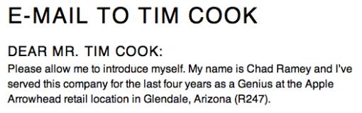 Ex-Mitarbeiter schreibt offenen Brief an Tim Cook