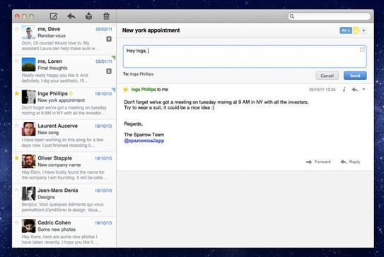 eMail Programm Sparrow in neuer Version erschienen