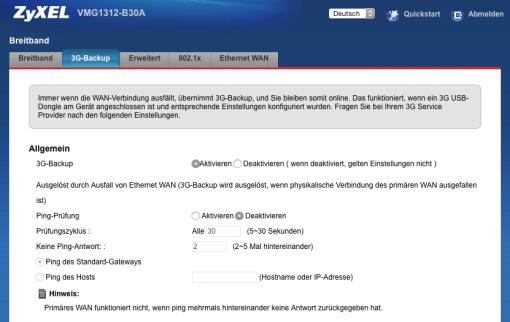 Weboberfläche Zyxel VMG1312-B30A