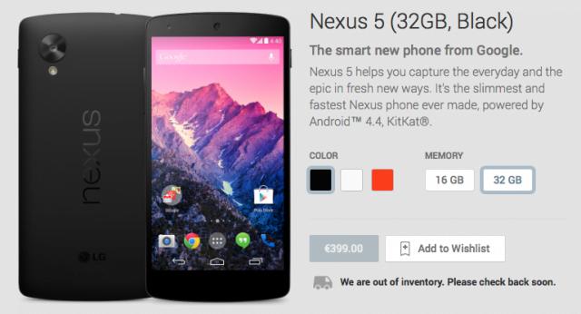 Preise für Nexus 5 Varianten