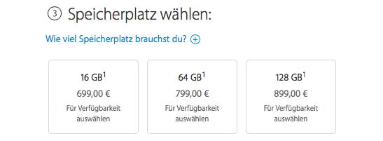 Preise für unterschiedliche Speicheroptionen beim iPhone 6