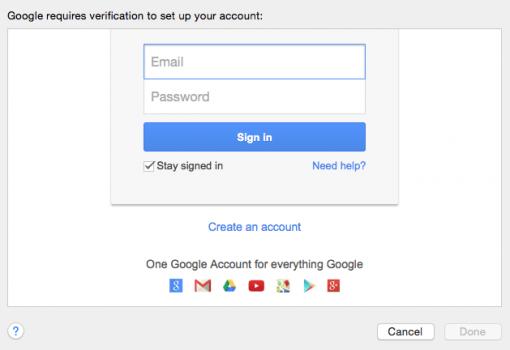 Einloggen innerhalb von Apple Mail