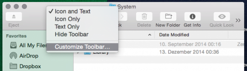 Customize Toolbar