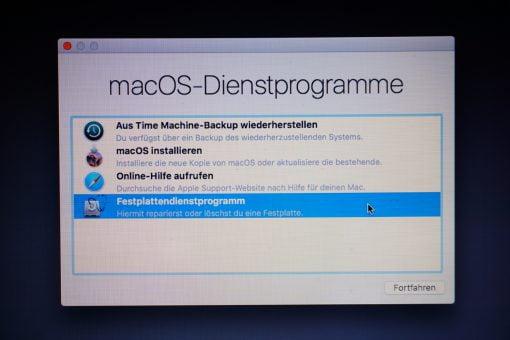 macOS Dienstprogramme Auswahl
