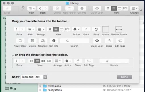 Toolbar im Finder anpassen