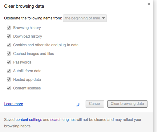 Clear Browing Data