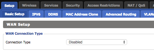 WAN Connection Type Disabled