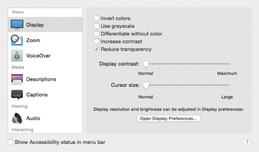 OS X Reduce transparency