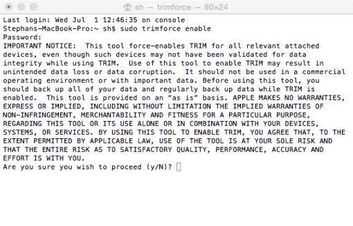 OS X trimforce enable