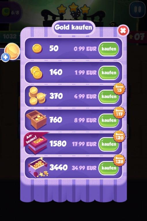 1010! World krumme Aufladebeträge als In App Kauf