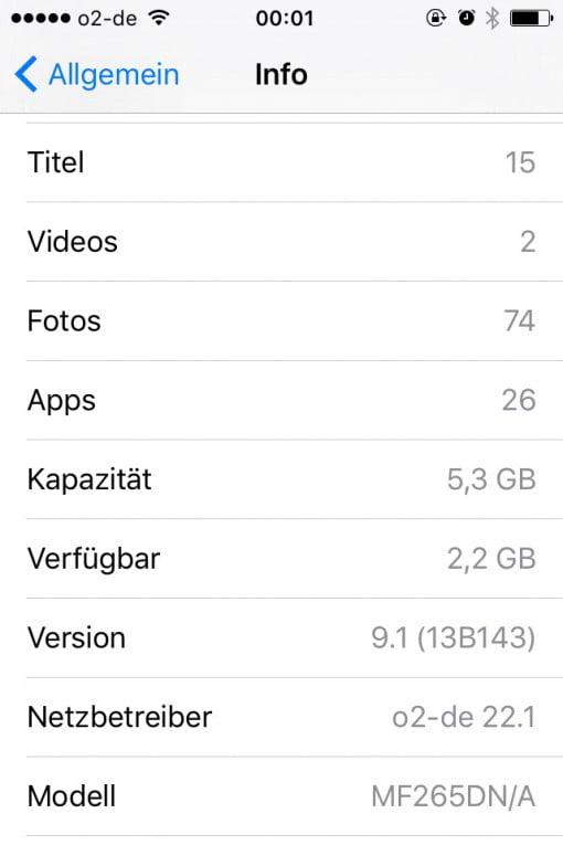 iPhone Speicher geleert