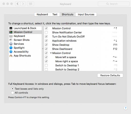 Keyboard Shortcut Einstellungen