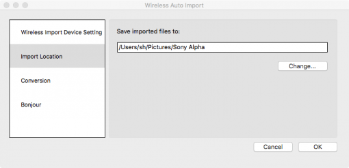 Sony Wireless Auto Import