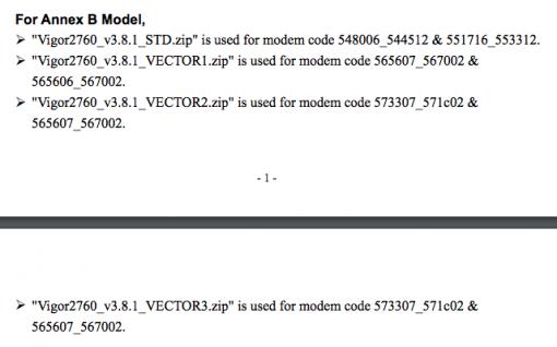 DrayTek Vigro Router unterschiedliche Firmware Versionen