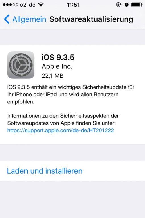 iOS Update 9.3.5