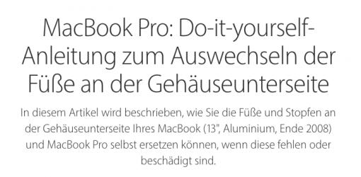 Apple DIY Anleitung MacBook Gummifüße