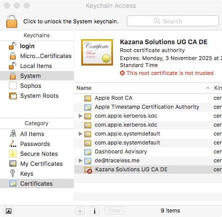 macOS Zertifikat nicht akzeptiert