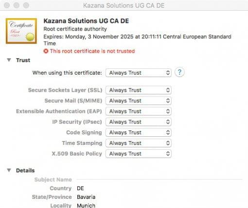 macOS importiertes Zertifikat akzeptieren