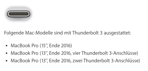 Kompatibilität des Apple Thunderbolt 3 (USB-C) auf Thunderbolt 2 Adapters
