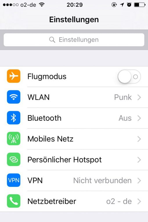 iOS Einstellungen VPN
