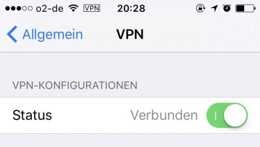 iOS VPN anschalten