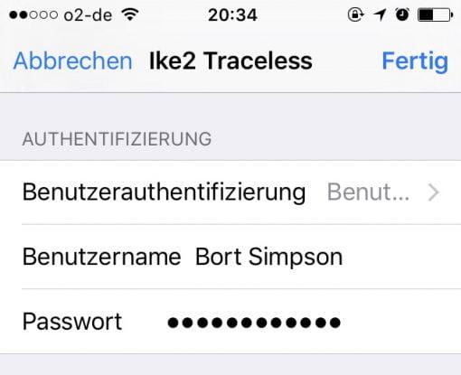 IKEv2 iOS Zertifikat und Passwort