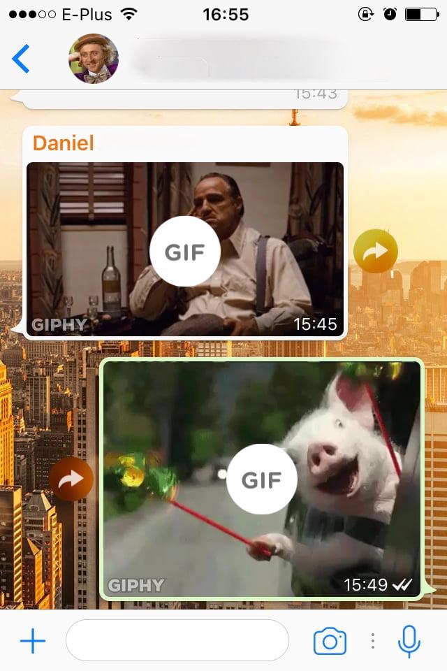 How to: Bewegte GIF Bilder in WhatsApp finden und verschicken