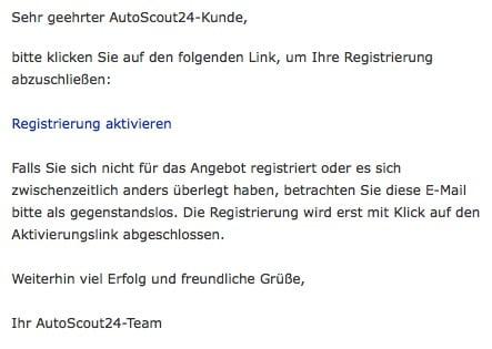 eMail Registriereung aktivieren