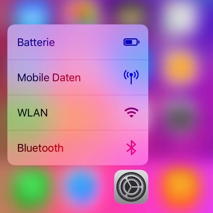 Shortcut: Per 3D Touch direkt in die WLAN und Bluetooth Einstellungen