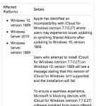 iCloud 7.7.0.27 und Windows 10 Update 1809 sind inkompatibel