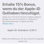 Apple gibt 15% Bonus auf neu gekauftes Apple-ID Guthaben