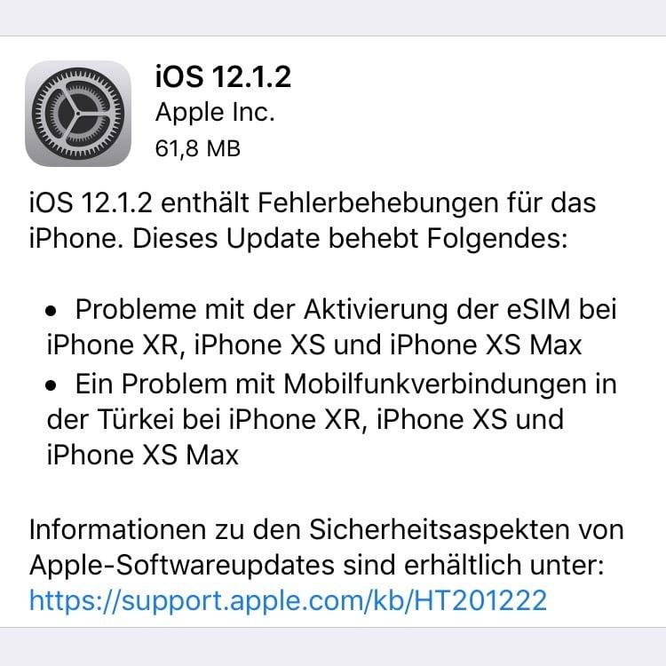 iOS 12.1.2 mit Fehlerbereinigungen zur eSIM-Karte erschienen