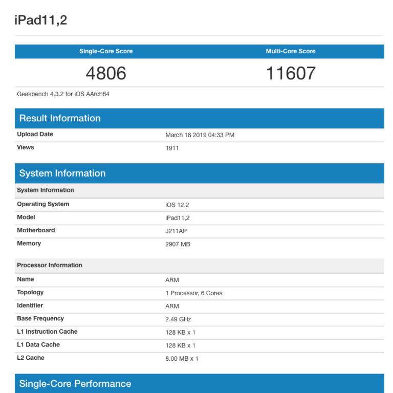 iPad 2019 auf dem Leistungsniveau von iPhone Xs