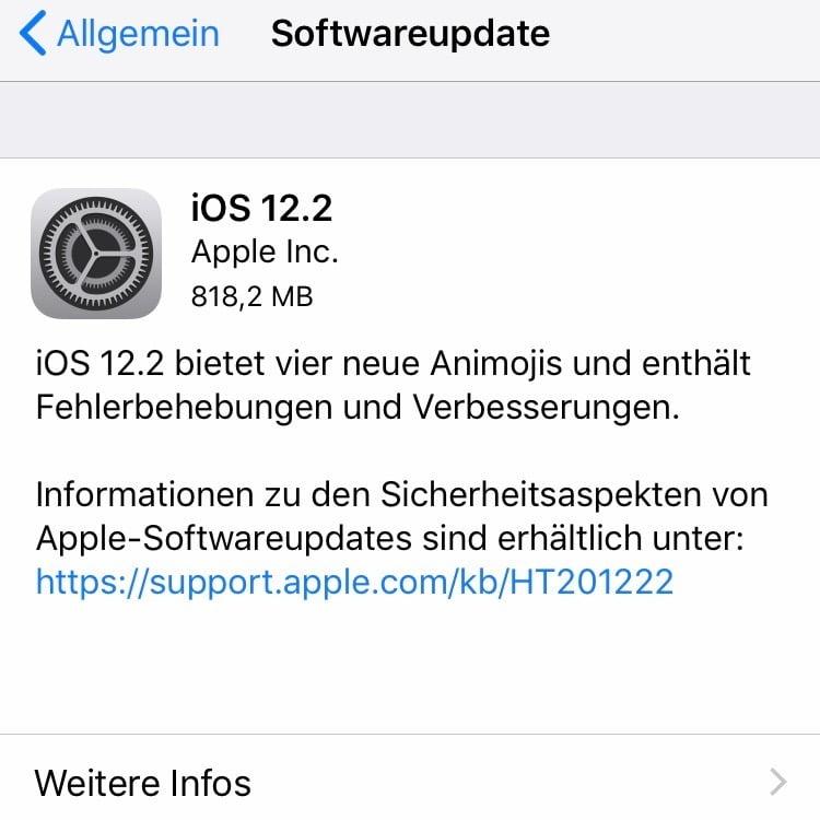 Apple veröffentlicht iOS 12.2 mit neuen Funktionen
