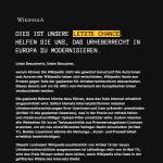 Deutsche Wikipedia aus Protest gegen Artikel 13 nicht zu erreichen