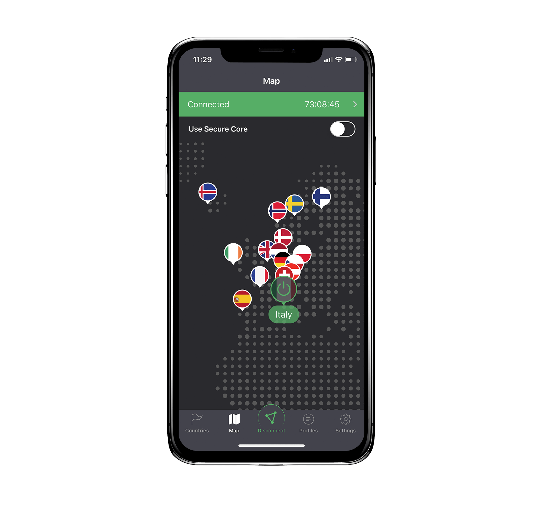 ProtonVPN iOS app connection country map device