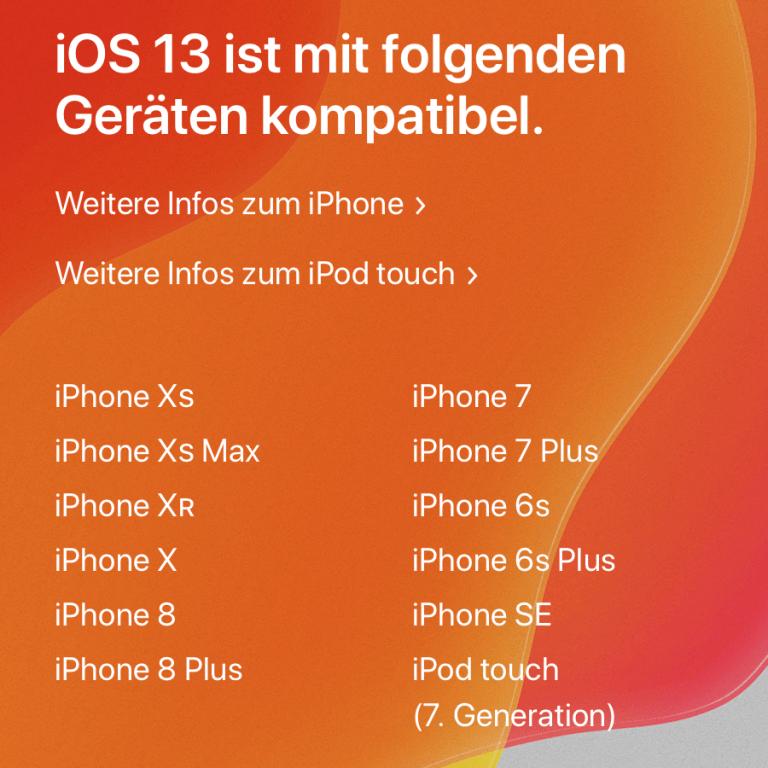 iOS 13: Kein Support für iPhone 6, 5s und iPad 2, 3 mehr
