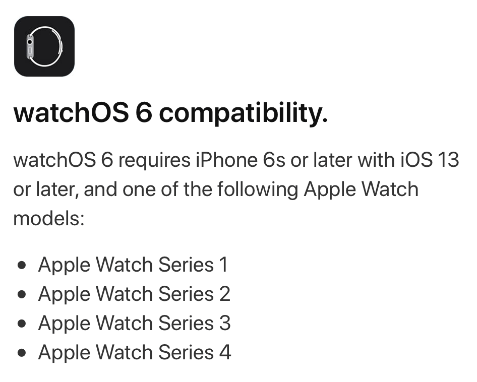 watchos 6 compatibility