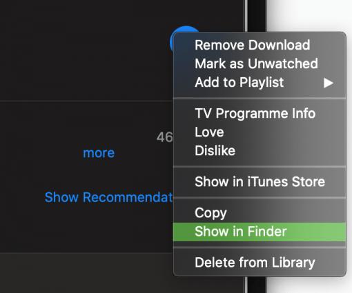 Apple Tv Itunes Show Movie In Finder
