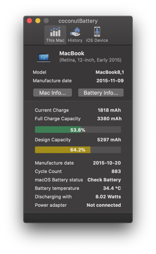 Macbook Battery Status With Coconut Battery