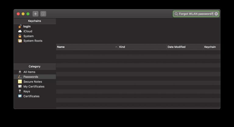 WLAN Passwort vergessen Mac: Anzeigen im Schlüsselbund