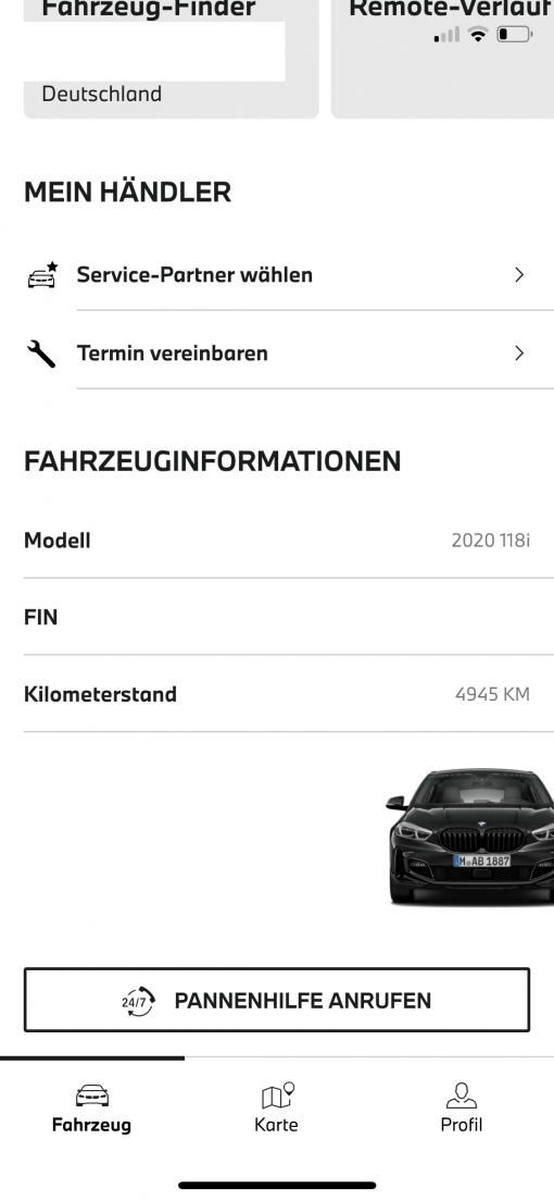 My BMW App Fahrzeuginformationen