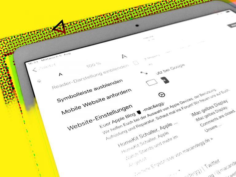 iPad: Google Suchergebnisse – Text zu klein