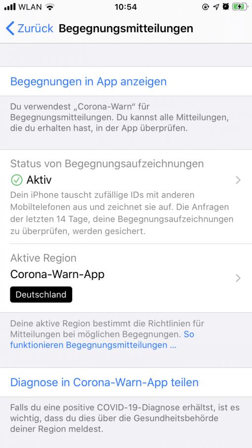 Begegnungsmitteilungen iOS 13.7