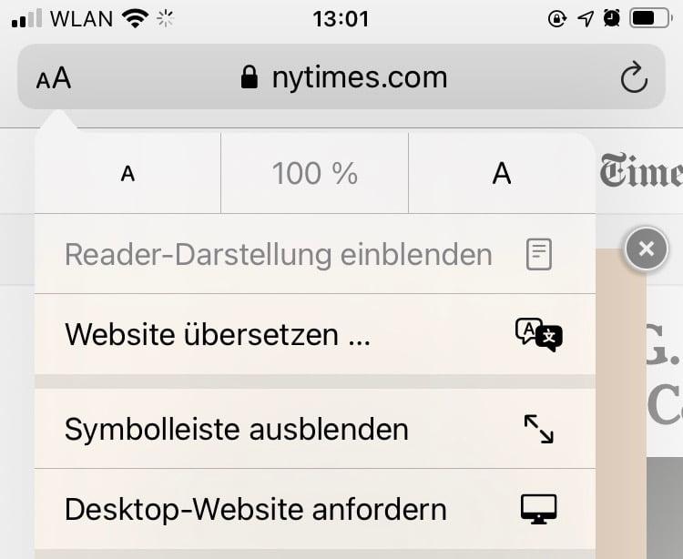 Safari Webseite übersetzen